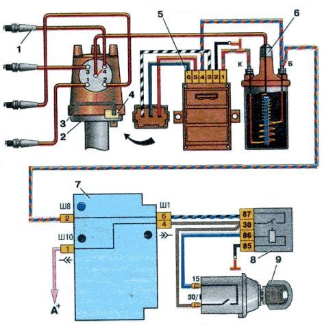 Схема бесконтактной системы зажигания: 1. Свечи зажигания; 2. Датчик-распределитель зажигания; 3. Экран; 4...